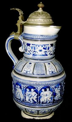 Beer stein tankard Antique German Porcelain Stein with Salt Glaze ...