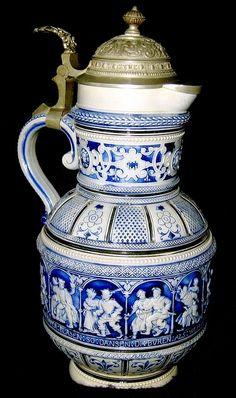 Beer stein tankard Antique German Porcelain Stein with Salt Glaze ...