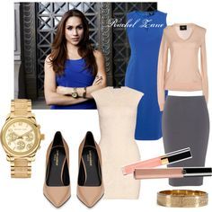 A fashion look from February 2013 featuring pink party dress, slimming dresses and pink v neck sweater. Browse and shop related looks. Dope Fashion, Office Fashion, Suit Fashion, Fashion Outfits, Womens Fashion, Rachel Zane Suits, Suits Meghan, Business Outfits, Office Outfits
