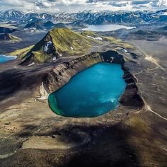 #Hnausapollur is an explosion crater lake in the southern highlands 😍. Hnausapollur is formed when the lave came in contact with ground water ! #Icelandtour #Discovericeland #Lake  #IcelandTravel 📷 by- southiceland