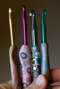 Polymer Clay Crochet Hook Handles by MossyOwls, via Flickr