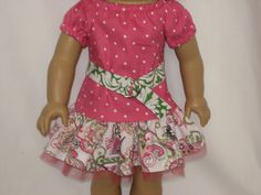 American Girl Doll Clothes - Flowers and Swirls Flirty Skirt Outfit. $16.00, via Etsy.