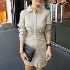 Elegant Solid Color POLO Collar Long Sleeve Slim Fit Dress [gyxh0216] on Luulla