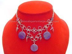 Purple Agate Stones Alpaca SIlver Inca Necklacehttp://www.wholesaleperuvianjewelry.com