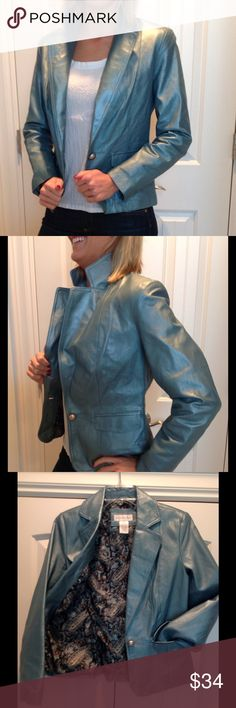Like New Teal Shimmer Leather Jacket XSmall Soft leather with slight shimmer. Beautiful paisley lining. 2 front flap pockets. Extra button.  XSmall. New No Tags! Jackets & Coats