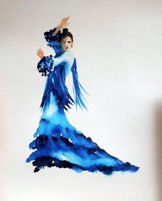 blue Flamenco dancer from a postcard in Sevilla - watercolor