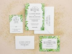 These beach wedding invitations feature a watercolor palm frond border and modern type. Watercolor invitations are perfect for your tropical