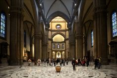Interior view of the nave, looking east to the dome. Basilica di Santa Maria del Fiore, better known as the Duomo or Cathedral of Florence, built 1296-1436.