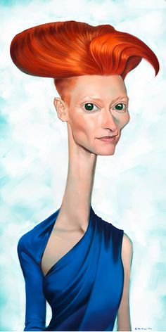 """Katherine Matilda """"Tilda"""" Swinton (born is a British actress, performance artist, model, and fashion muse, known for her roles in arthouse and independent films to Hollywood productions. Cartoon Faces, Funny Faces, Cartoon Art, Funny Caricatures, Celebrity Caricatures, Celebrity Drawings, Caricature Artist, Caricature Drawing, Drawing Art"""