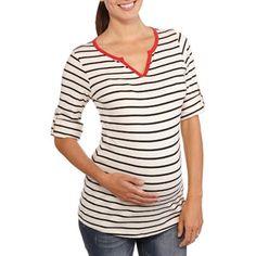 e58448964 Planet Motherhood - Planet Motherhood Maternity Striped Henley with  Contrast Trim and Roll Sleeves - Walmart.com