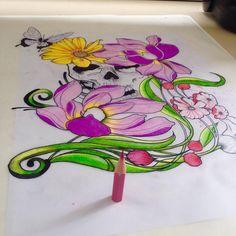 Skull / Flowers / Butterfly - By Formigactba - Level Ink Tattoo Studio