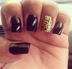 My nails #BlackAndCheetah #cute