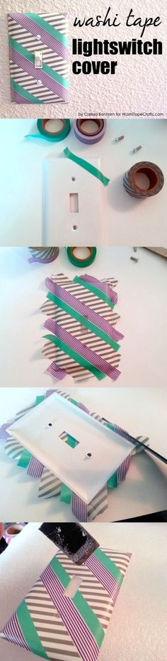 Learn how to take your (old) switch plates and give them a new lease on life with washi tape! Seal with Mod Podge.