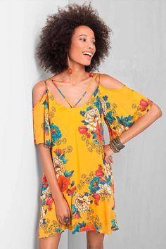 Vestido Curto Dress To Ombro Vazado Estampado Keyko - BabadoTop