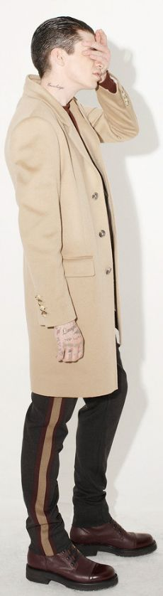 by Marc Jacobs men's camel overcoat and tuxedo stripe pants