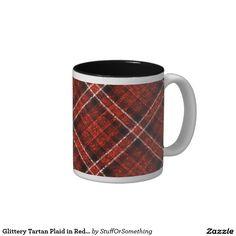 Glittery Tartan Plaid in Red & Black Two-Tone Coffee Mug