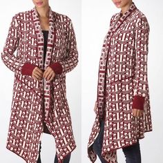 The DARLA print cardigan - DEEP RED 🚨BOTTOM PRICE🚨🎉HP 12/12🎉I only have one available in size SMALL. Super soft. Great for layering. Size SMALL but would fit med also. ‼️NO TRADE‼️ Jackets & Coats