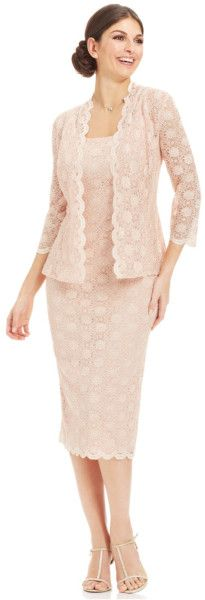 Alex Evenings Petite Sequin Lace Dress And Jacket in Pink (Champange)