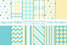 Check out Aqua and Yellow Digital Papers by candyboxdigital on Creative Market. Printable digital papers for scrapbook, invitations, cards, digital scrapbooks, journals and blogs.
