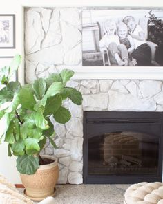 How To Whitewash Stone: DIY Fireplace Makeover — Coastal Collective Co. How To Whitewash Stone: DIY Fireplace Makeover — Coastal Collective Co. Decor, Diy Fireplace Makeover, Painted Stone Fireplace, Fireplace, Painted Rock Fireplaces, Diy Fireplace