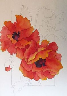 WATERCOLOR WORKSHOP: Painting Red Poppies - step by step tutorial - links to other watercolor tutorials by the same teacher (JS)