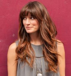 Long Hairstyle With Bangs For Square Face