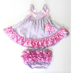 This beautiful swing top set for your little girl from Wenchoice is so cute and brings a fresh new look for summer! It features a lavender color with pink bows at braces and pink trim with white polka dots at the edge of the skirt. The bloomer also featur