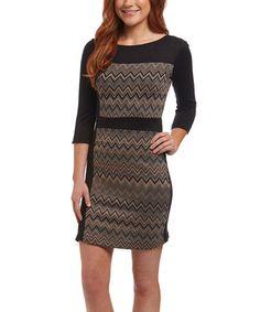 Love this Brown & Black Zig-Zag Sweater Dress on #zulily! #zulilyfinds