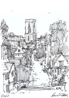 A rough sketch of a townscape that relies on hatching as a rendering technique  (Pinned from davegibbonsartwork.blogspot.co.uk - Landscape Drawings)