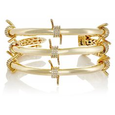 Fallon Women's Barbed Wire Triple Cuff (13.050 RUB) ❤ liked on Polyvore featuring jewelry, bracelets, gold, 14k charms, geometric jewelry, 14k jewelry, clear jewelry and pave jewelry