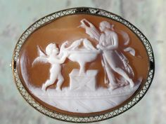 Antique Aphrodite Venus Eros Love Shell Cameo Gold Fill Brooch Pin Pendant | eBay