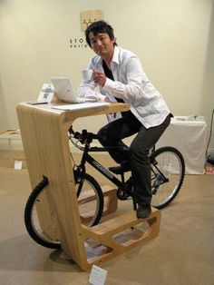 And just when I was thinking of how to store my race bike incorporate exercise into the office, I see this stylish solution! Must Have!Pit In Bicycle Table by Store Muu?..genius!!!