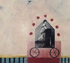 monoprint collage with etching of juggler by debbie little wilson... $450. unframed 18 x18