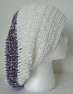 Crocheted Antique White & Purple Striped Slouchy by daddydan, +12.95