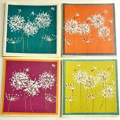 Hand Painted Dandelions Blank Greeting Cards
