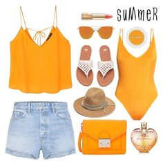 """Orange Summer"" by pure-vnom ❤ liked on Polyvore featuring MANGO, GRLFRND, Loeffler Randall, H&M and Vera Wang"