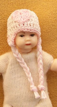 Dollhouse Miniature 1:12 Scale Heidi Ott Toddler White Hat WIth Pink Heart