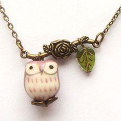 Antiqued Brass Branch Czech Glass Flower Porcelain Owly