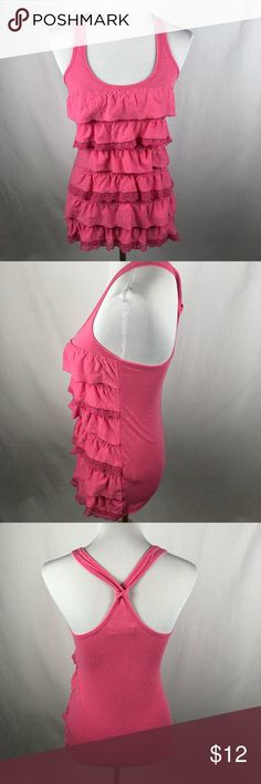 "Abercrombie and Fitch pink ruffle tank size small Pre-owned condition. Chest 14"" length: 25"" approximate measurements.  Smoke free/pet friendly home. Make sure to check out my other listings, thanks for looking! Abercrombie & Fitch Tops Tank Tops"