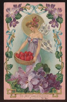 Fantasy Fairy with Butterfly Wings Antique Valentine's Day Postcard-aaa826