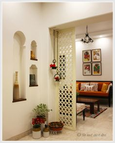 It Elegantly Eclectic (Home Tour) Niches, hanging brass lamps and jali partition Ethnic Home Decor, Indian Home Decor, Cheap Home Decor Online, Indian Interior Design, Diy Room Divider, Room Dividers, Indian Interiors, Indian Homes, Living Room Decor