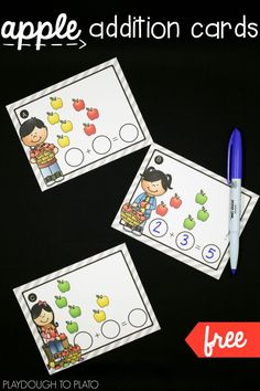 Apple Addition Cards Playdough To Plato : Free apple addition cards! Apple Activities, Math Activities For Kids, Math For Kids, Subtraction Activities, Addition Activities, Travel Activities, Math Games, Math Classroom, Kindergarten Math