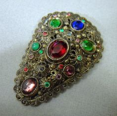 Vintage Dress Clip Art Deco Red Green Rhinestone Fruit Salad - Another Great Christmas Gift by EyeCandyAntiques, $45.00