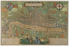 This is a 1574 map of London. It shows us what London looked like in Tudor times. In the middle of the map is the City of London inside the City walls. On the left side is Westminster where two of the royal palaces were. The River Thames flows through the centre. There is only one bridge across the Thames: London Bridge. At the bottom of the map is Southwark on the south bank of the river. Here you can see two round buildings: these were the bull- and bear-baiting pits.