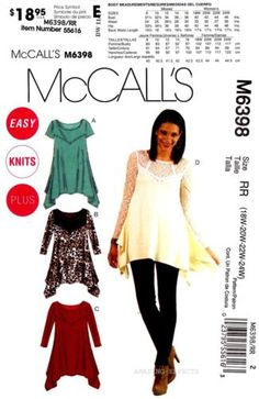 McCalls-Sewing-Pattern-M6398-Womens-18-24-easy-knit-Tunics-Tops-6398