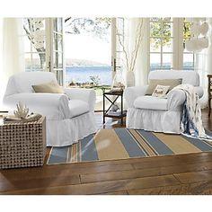 slipcovers for furniture in white denim