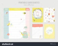 Cute calendar daily planner template. Beautiful diary with funny kids illustrations. Spring holidays background. Organizer and Schedule with place for Notes. Vector. Isolated