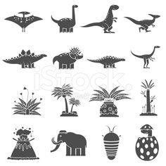 Dinosaurs Black Set royalty-free stock vector art
