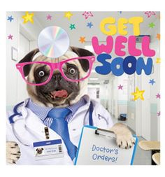 Pug get well soon card at www.ilovepugs.co.uk   post worldwide