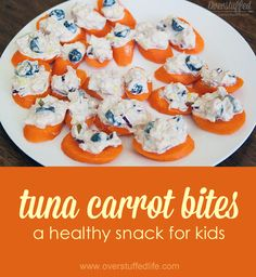 Tuna Carrot Bites: A healthy, easy, and FUN snack for kids. Great for kids that are gluten-free, too! #overstuffedlife